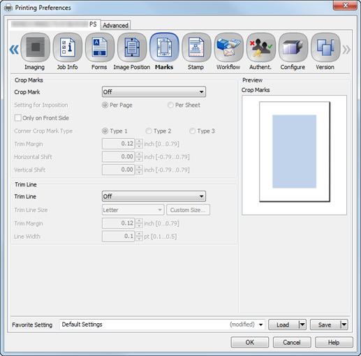 Print|[Marks] (Crop Marks) screen