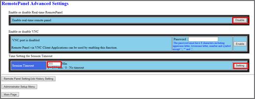 Web Utilities|Remote Panel Advanced Settings