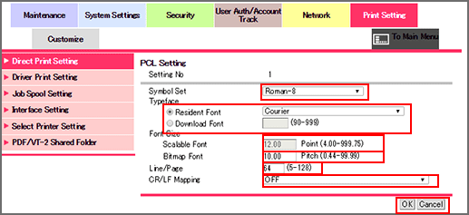 Pagescope Web Connectionpcl Setting