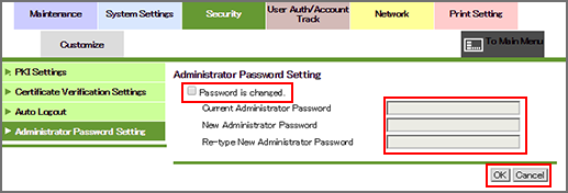 PageScope Web Connection|Administrator Password Setting